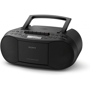 Sony CFDS70-BLK CD/MP3 Cassette Boombox Home Audio Radio, With Aux