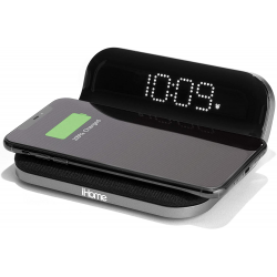 iHome iW18 Compact Digital Alarm Clock with USB and Qi Wireless Charging