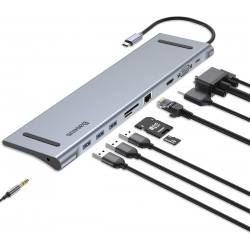 Baseus USB C Laptop Docking Station, Baseus Aluminum 10-in-1 USB C Hub