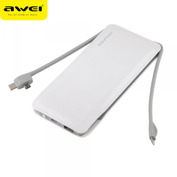 Awei P51K 10000mAh Power Bank with Micro, iPhone,Type-C Charger Cables