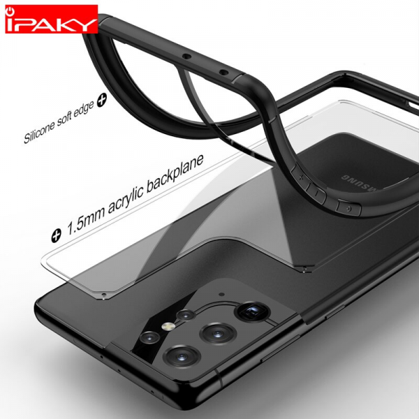 iPaky Silicone Acrylic Hybrid Shockproof Transparent Case for Samsung S21,S21+,S21 Ultra