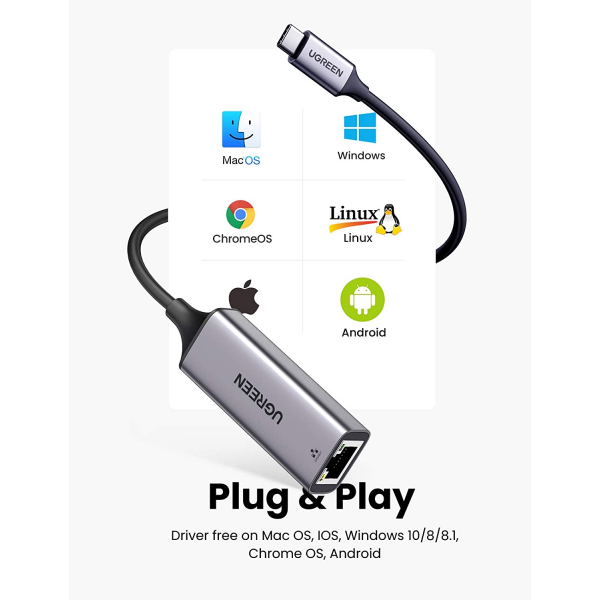UGREEN  USB Type C Ethernet Adapter Thunderbolt 3 1000Mbps Network Cable
