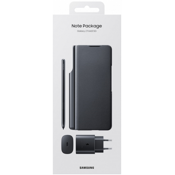 Samsung Flip Cover Galaxy Z Fold 3 5G Black & S Pen & PD Travel Charger