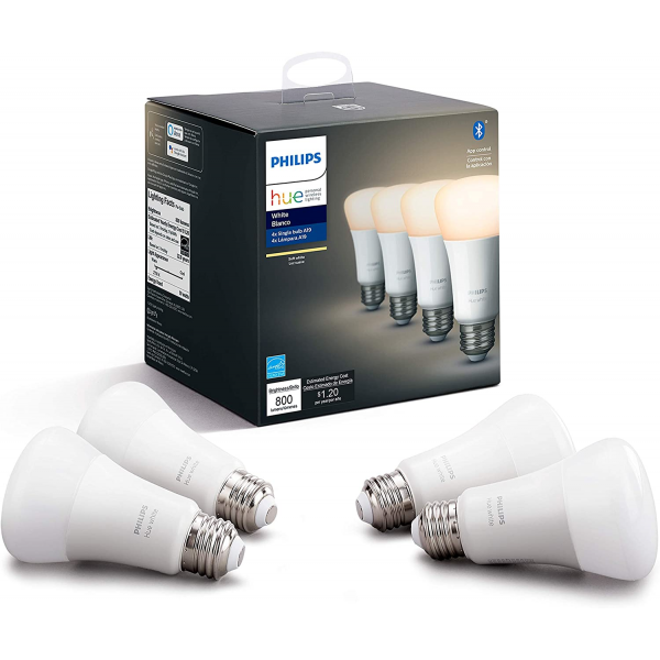 Philips Hue White 4-Pack A19 LED Smart Bulb works with Alexa