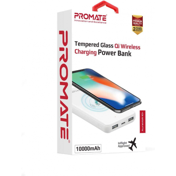 Promate Qi Wireless Charger Power Bank, Portable 10000mAh