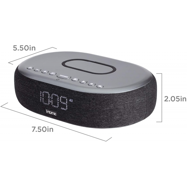 iHome TIMEBOOST Wireless Charging Alarm Clock with Bluetooth Speaker