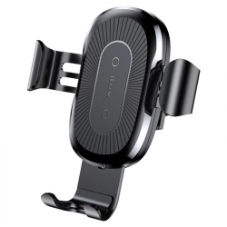 Baseus Gravity Air Vent Car Holder / Qi Wireless Charger - Black