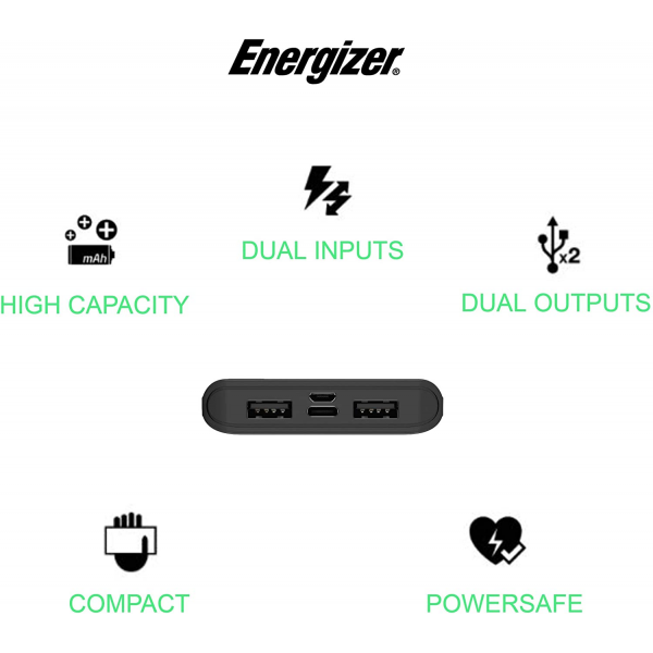 Energizer UE10054 10000mAh Fast Charging Dual Input -micro USB, Type-C Powerbank with Power Delivery 18W