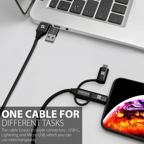 Promate UniLink-Trio2 6-In-1 USB Cable For Charging And Data Transfer