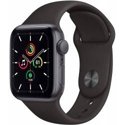 Apple Watch SE GPS, 40mm Space Gray Aluminium Case with Black Sport Band