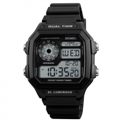 SKMEI 1299 50m Waterproof Men's Digital Sports Watch - Black