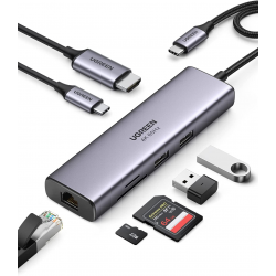 UGREEN 7-in-1 USB C Hub 4K, 60Hz Type C to HDMI Dongle with Gigabit Ethernet