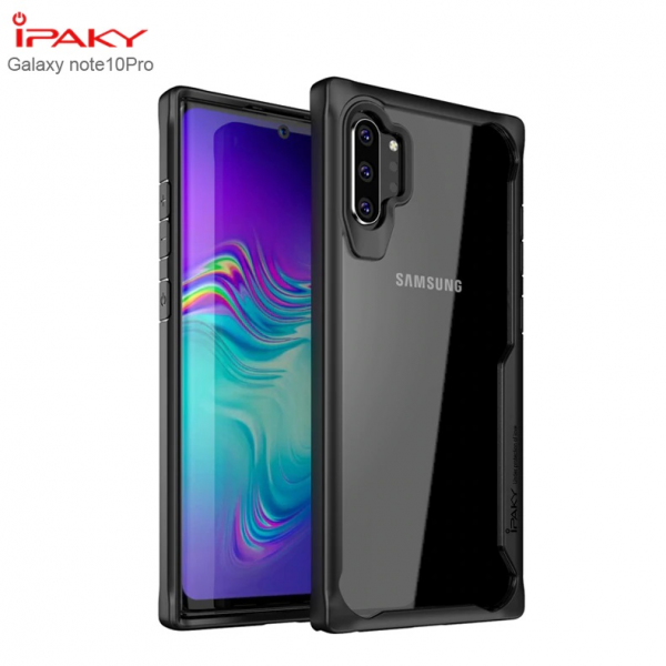 iPaky Silicone Acrylic Hybrid Shockproof Transparent Case for Samsung Note 10 Plus