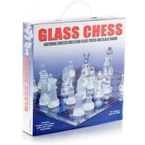 32 Pieces Glass Frosted Traditional Chess Set