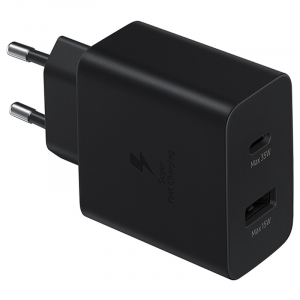 Samsung - Duo Travel Adapter Wall Charger 35W with A and USB-C Ports Black