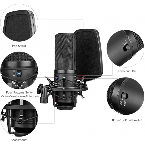 BOYA BY-M1000 Professional Large Diaphragm Condenser Microphone