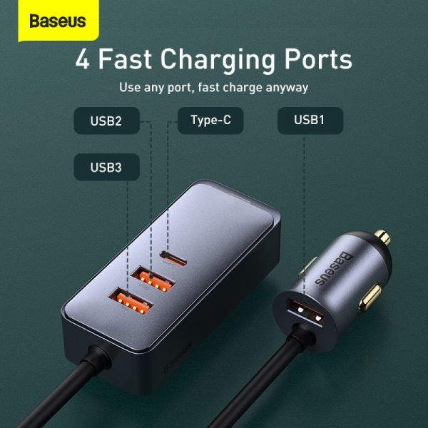 Baseus 120W 4.0 Fast Charging Four Port Car Charger
