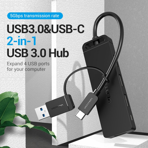 Vention 4-Port USB 3.0 Hub with 2-in-1 USB 3.0 and Type C Interface