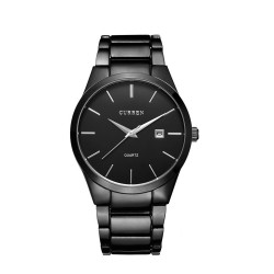Curren 8016 Round Tungsten Steel Men's Wrist Watch (Black