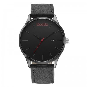 DOOBO Quartz Military Grade Leather Wrist Watch Men with Date Black
