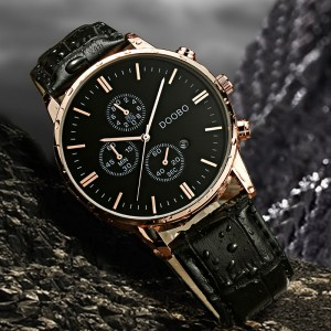 DOOBO Quartz Military Grade Leather Wrist Watch Men with Date Gold