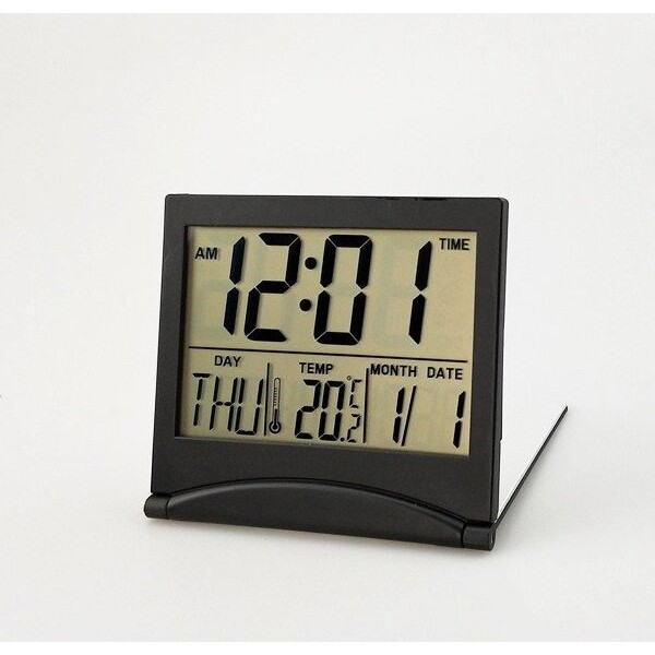 Digital LCD Display Thermometer Calendar Folding Alarm Clock