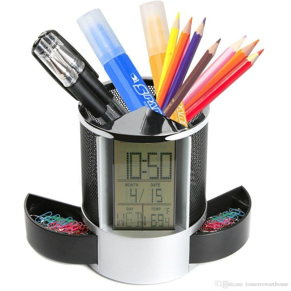 Multi-function LED Digital LCD Screen Temperature display Alarm Clock Pen Holder Case