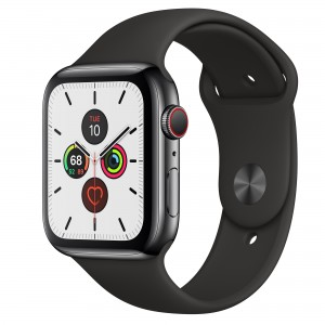 Apple Watch Series 5 Aluminum Case with Black Sport Band